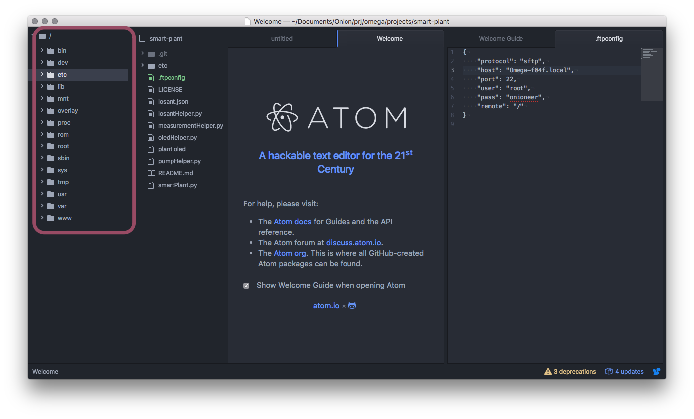 Atom + SFTP: Wirelessly Edit Files On The Omega