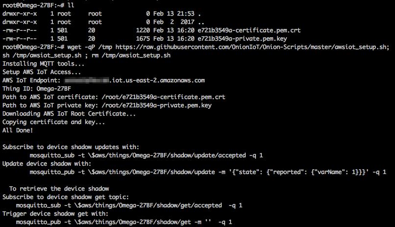 Single Command AWS IoT Setup – Onion